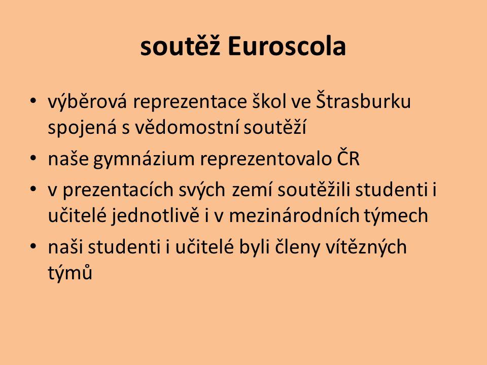 soutěž Euroscola výběrová reprezentace škol ve Štrasburku spojená s vědomostní soutěží naše gymnázium reprezentovalo ČR v prezentacích svých zemí sout