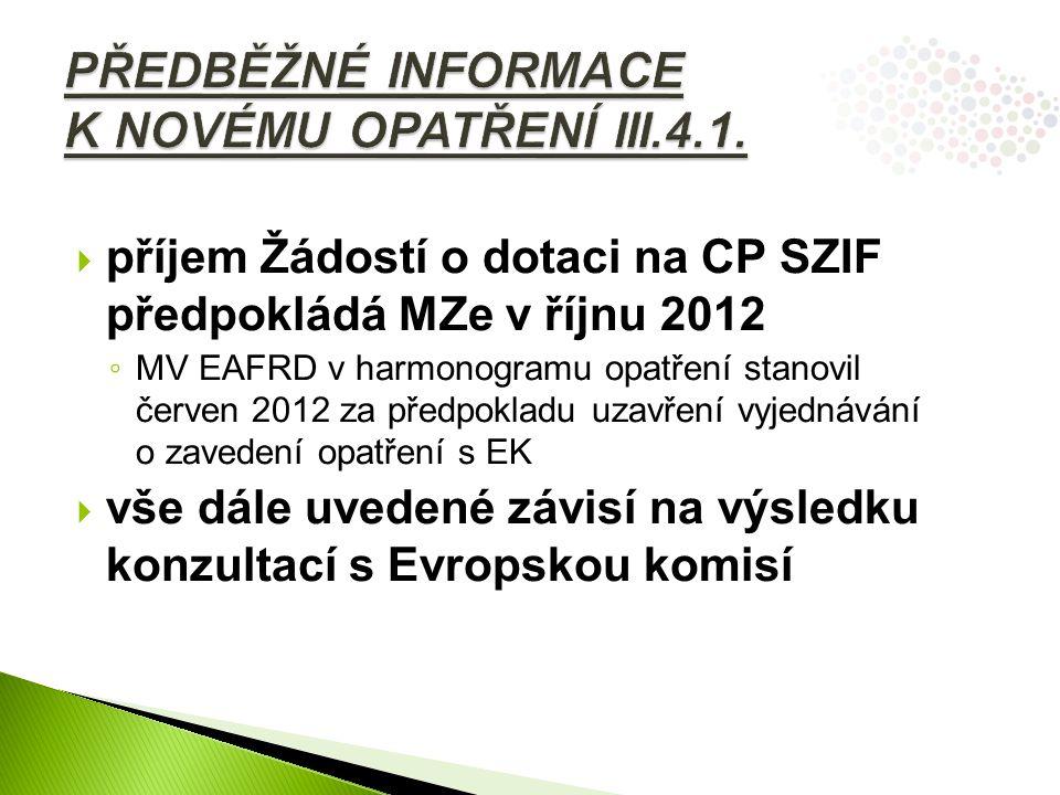  příjem Žádostí o dotaci na CP SZIF předpokládá MZe v říjnu 2012 ◦ MV EAFRD v harmonogramu opatření stanovil červen 2012 za předpokladu uzavření vyjednávání o zavedení opatření s EK  vše dále uvedené závisí na výsledku konzultací s Evropskou komisí