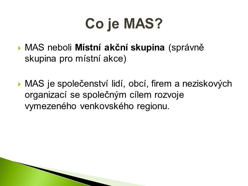  MAS neboli Místní akční skupina (správně skupina pro místní akce)  MAS je společenství lidí, obcí, firem a neziskových organizací se společným cílem rozvoje vymezeného venkovského regionu.