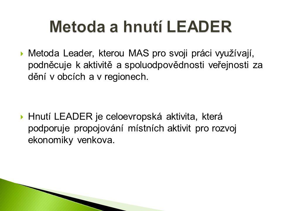  Metoda Leader, kterou MAS pro svoji práci využívají, podněcuje k aktivitě a spoluodpovědnosti veřejnosti za dění v obcích a v regionech.  Hnutí LEA