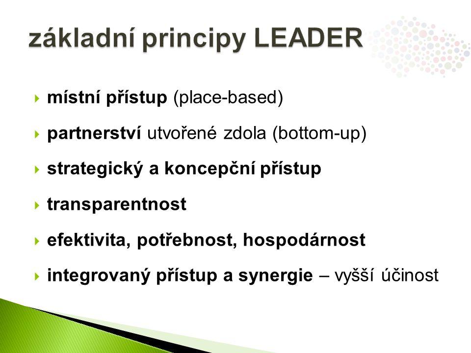  místní přístup (place-based)  partnerství utvořené zdola (bottom-up)  strategický a koncepční přístup  transparentnost  efektivita, potřebnost, hospodárnost  integrovaný přístup a synergie – vyšší účinost
