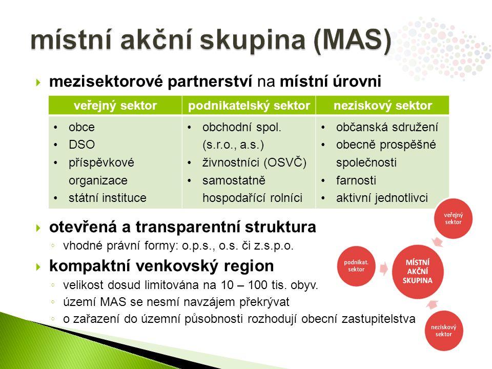  mezisektorové partnerství na místní úrovni  otevřená a transparentní struktura ◦ vhodné právní formy: o.p.s., o.s. či z.s.p.o.  kompaktní venkovsk