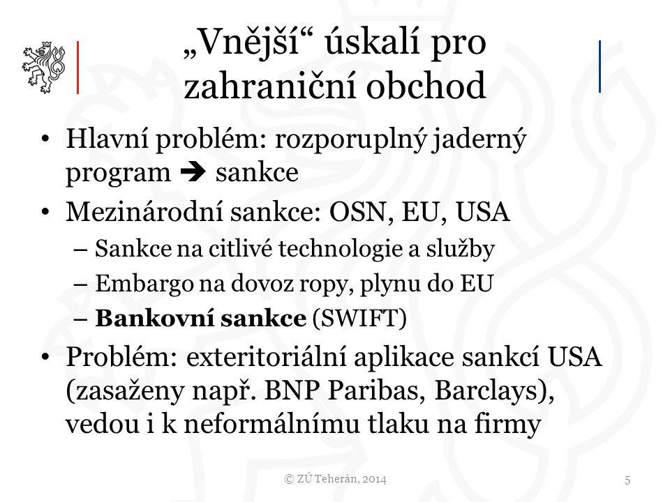 """""""Vnější úskalí pro zahraniční obchod Hlavní problém: rozporuplný jaderný program  sankce Mezinárodní sankce: OSN, EU, USA – Sankce na citlivé technologie a služby – Embargo na dovoz ropy, plynu do EU – Bankovní sankce (SWIFT) Problém: exteritoriální aplikace sankcí USA (zasaženy např."""
