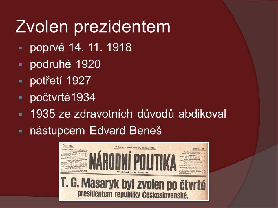 Zvolen prezidentem  poprvé 14. 11.