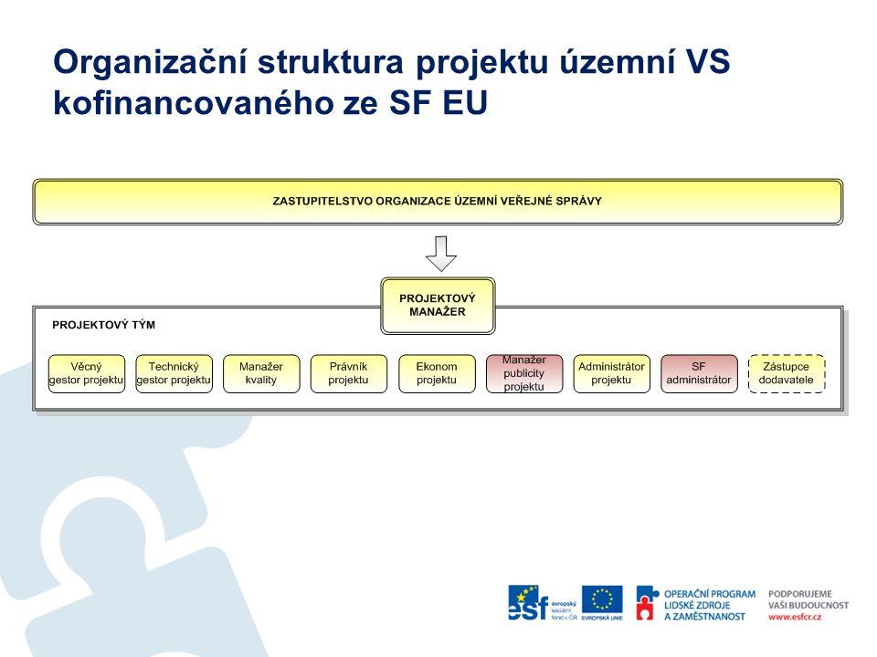 Organizační struktura projektu územní VS kofinancovaného ze SF EU