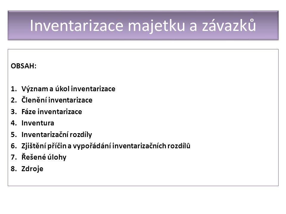 OBSAH: 1.Význam a úkol inventarizace 2.Členění inventarizace 3.Fáze inventarizace 4.Inventura 5.Inventarizační rozdíly 6.Zjištění příčin a vypořádání inventarizačních rozdílů 7.Řešené úlohy 8.Zdroje Inventarizace majetku a závazků