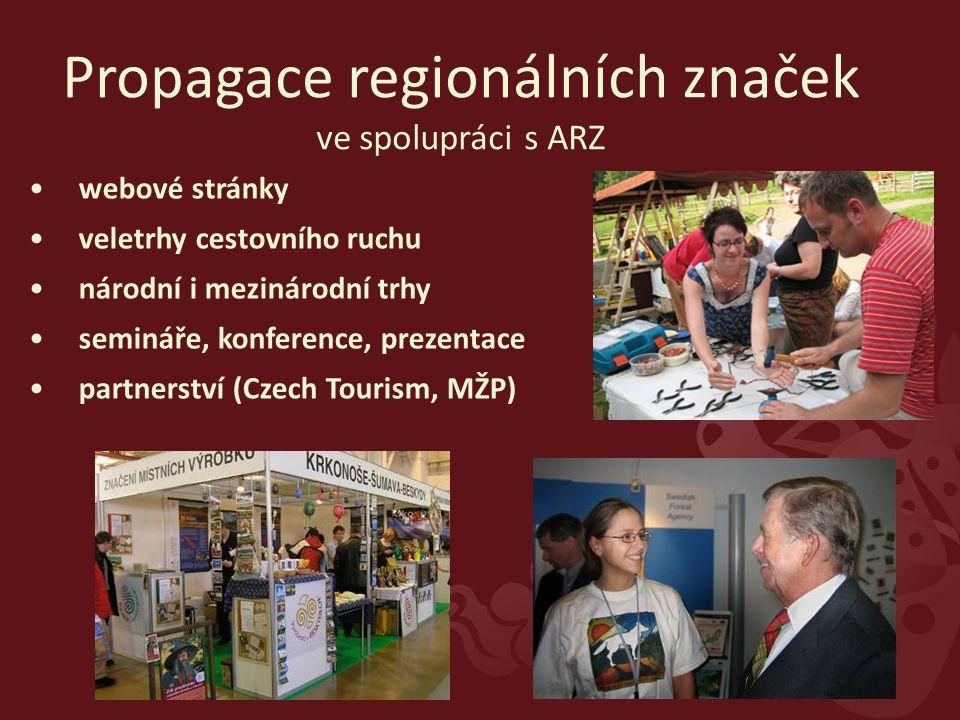 webové stránky veletrhy cestovního ruchu národní i mezinárodní trhy semináře, konference, prezentace partnerství (Czech Tourism, MŽP) Propagace regionálních značek ve spolupráci s ARZ