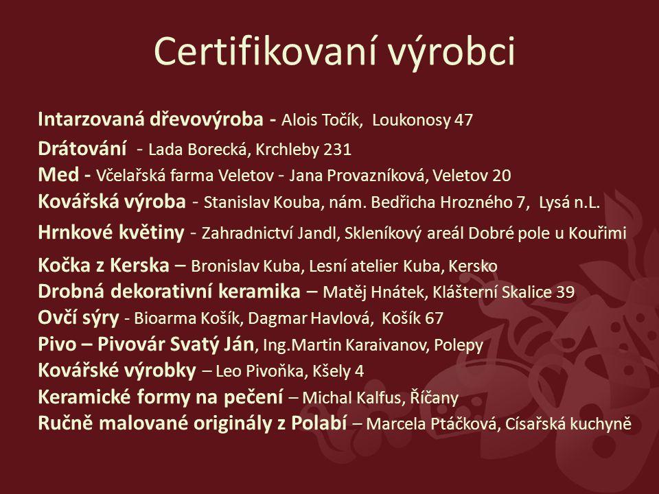 Intarzovaná dřevovýroba - Alois Točík, Loukonosy 47 Drátování - Lada Borecká, Krchleby 231 Med - Včelařská farma Veletov - Jana Provazníková, Veletov 20 Kovářská výroba - Stanislav Kouba, nám.