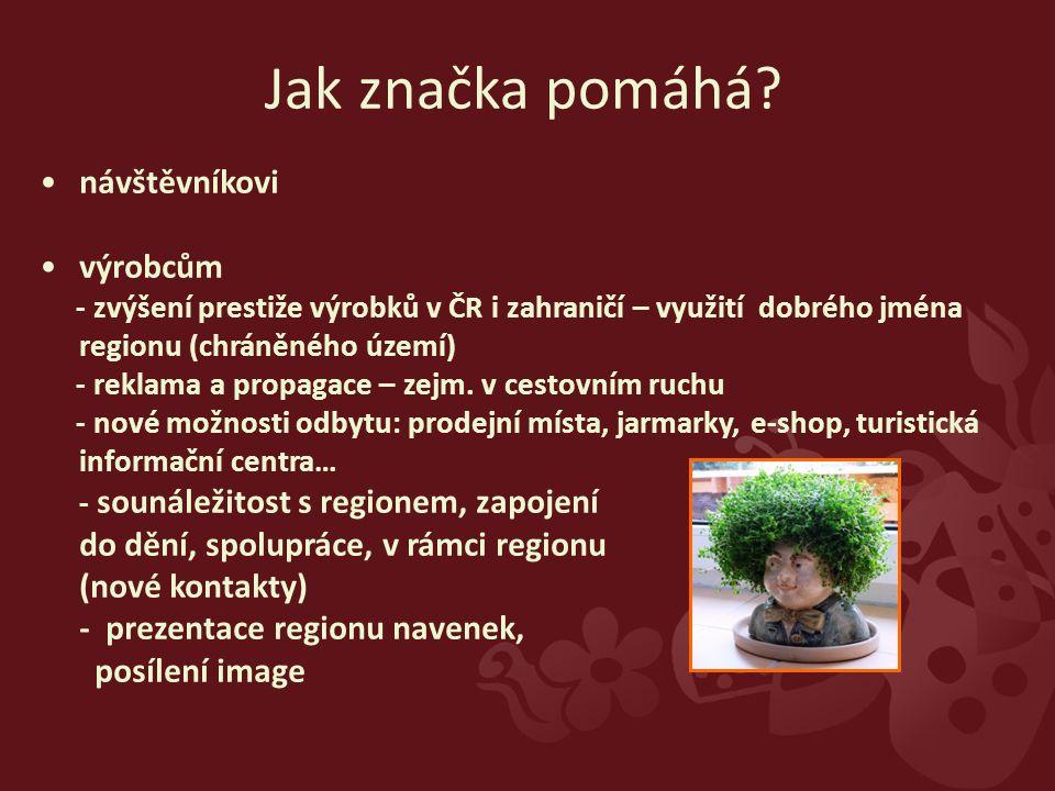 návštěvníkovi výrobcům - zvýšení prestiže výrobků v ČR i zahraničí – využití dobrého jména regionu (chráněného území) - reklama a propagace – zejm.