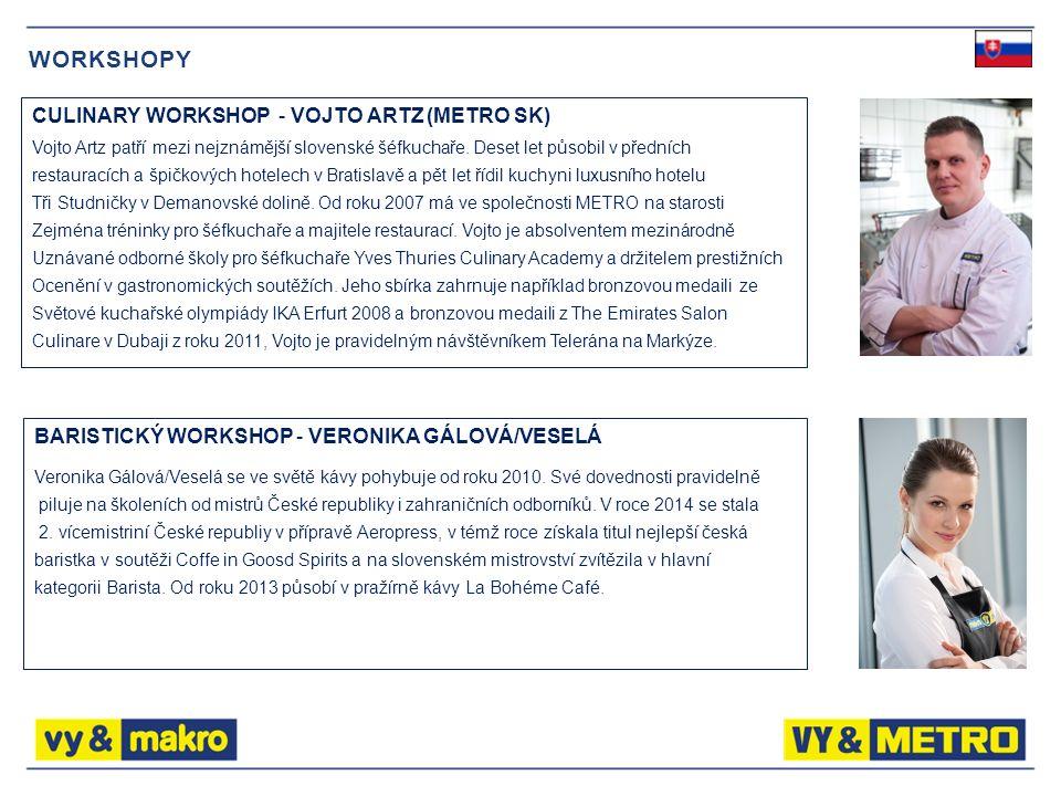 WORKSHOPY CULINARY WORKSHOP - VOJTO ARTZ (METRO SK) Vojto Artz patří mezi nejznámější slovenské šéfkuchaře.