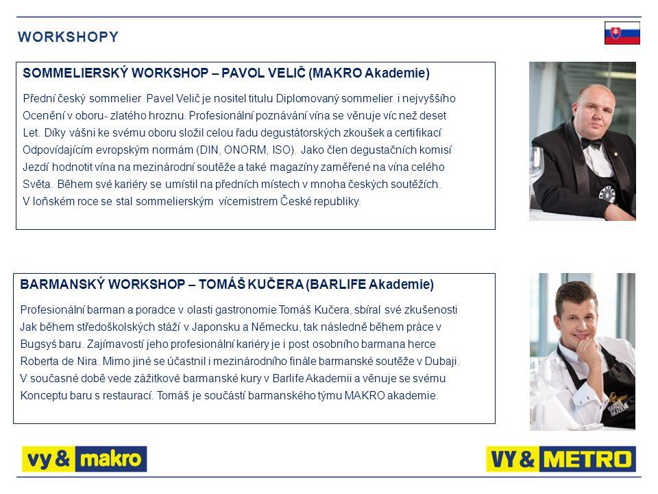 WORKSHOPY SOMMELIERSKÝ WORKSHOP – PAVOL VELIČ (MAKRO Akademie) Přední český sommelier Pavel Velič je nositel titulu Diplomovaný sommelier i nejvyššího Ocenění v oboru- zlatého hroznu.