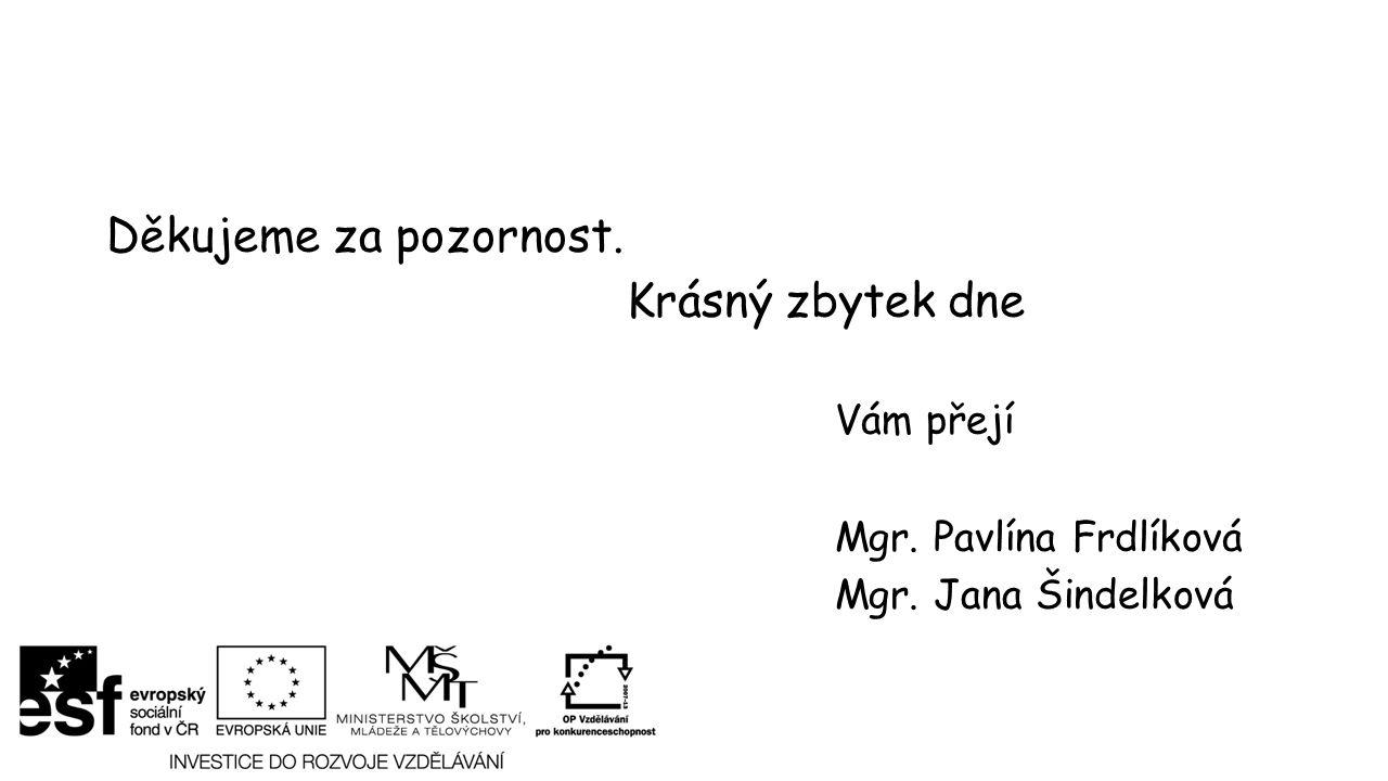 Děkujeme za pozornost. Krásný zbytek dne Vám přejí Mgr. Pavlína Frdlíková Mgr. Jana Šindelková