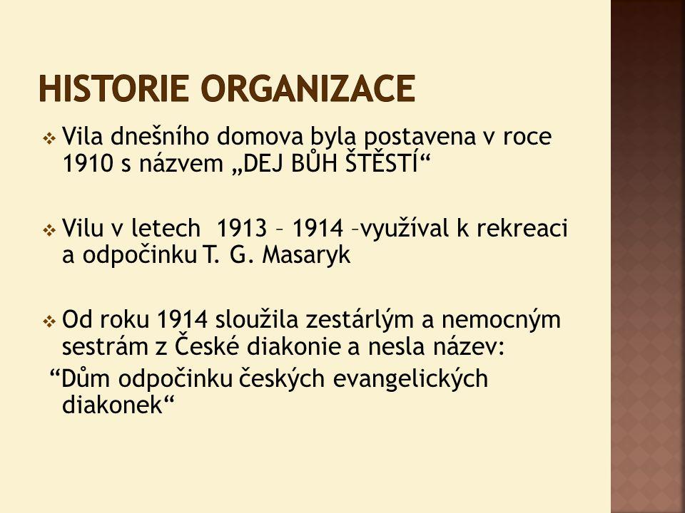 """ Vila dnešního domova byla postavena v roce 1910 s názvem """"DEJ BŮH ŠTĚSTÍ""""  Vilu v letech 1913 – 1914 –využíval k rekreaci a odpočinku T. G. Masaryk"""