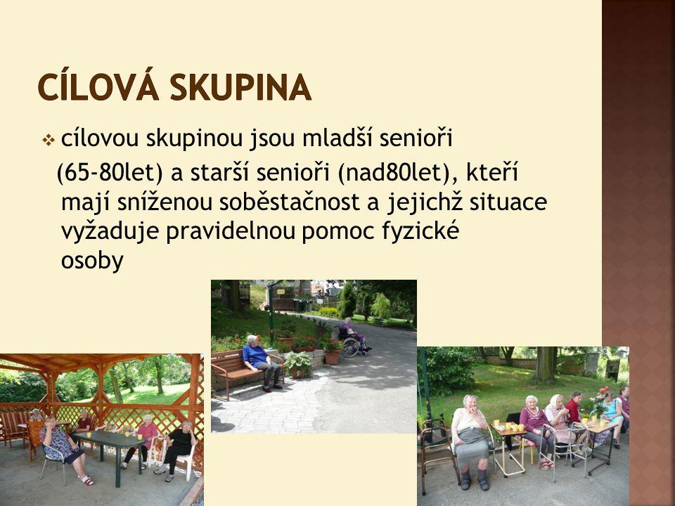  cílovou skupinou jsou mladší senioři (65-80let) a starší senioři (nad80let), kteří mají sníženou soběstačnost a jejichž situace vyžaduje pravidelnou