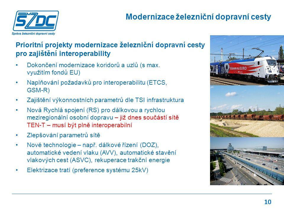 Prioritní projekty modernizace železniční dopravní cesty pro zajištění interoperability 10 Dokončení modernizace koridorů a uzlů (s max. využitím fond