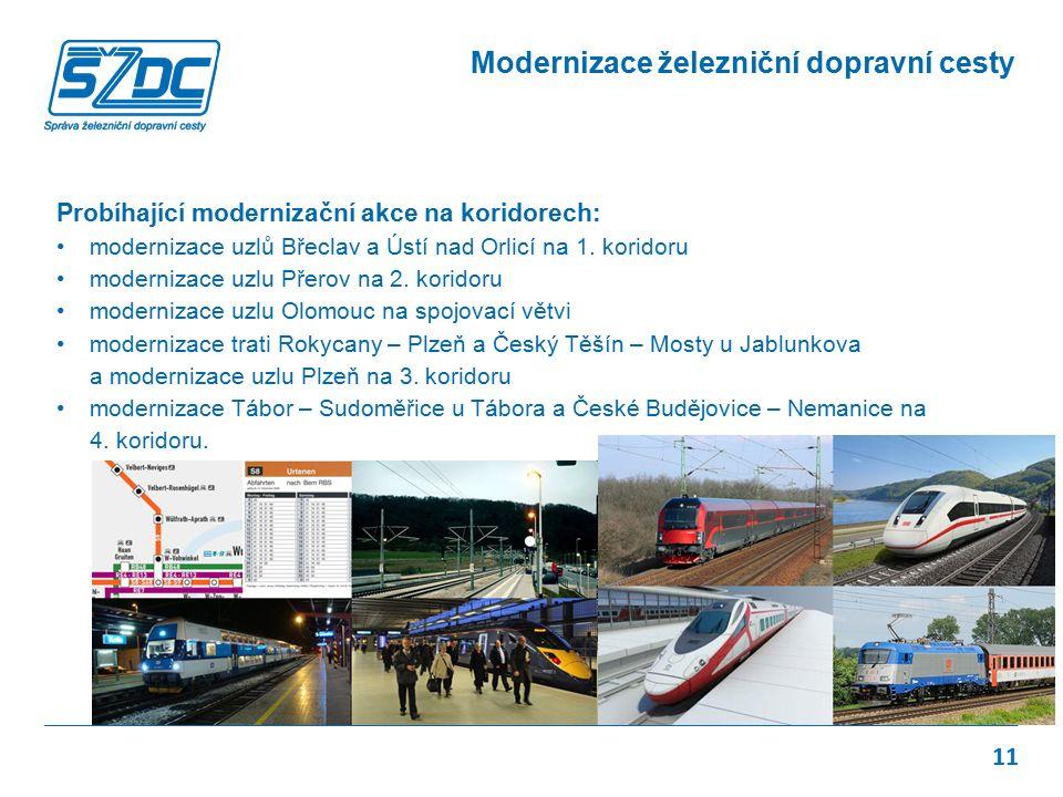 Probíhající modernizační akce na koridorech: modernizace uzlů Břeclav a Ústí nad Orlicí na 1. koridoru modernizace uzlu Přerov na 2. koridoru moderniz