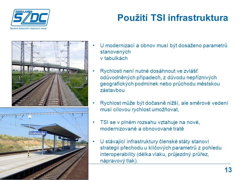 13 Použití TSI infrastruktura U modernizací a obnov musí být dosaženo parametrů stanovených v tabulkách Rychlosti není nutné dosáhnout ve zvlášť odůvo