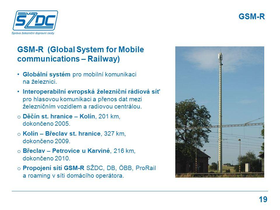 19 GSM-R (Global System for Mobile communications – Railway) Globální systém pro mobilní komunikaci na železnici. Interoperabilní evropská železniční