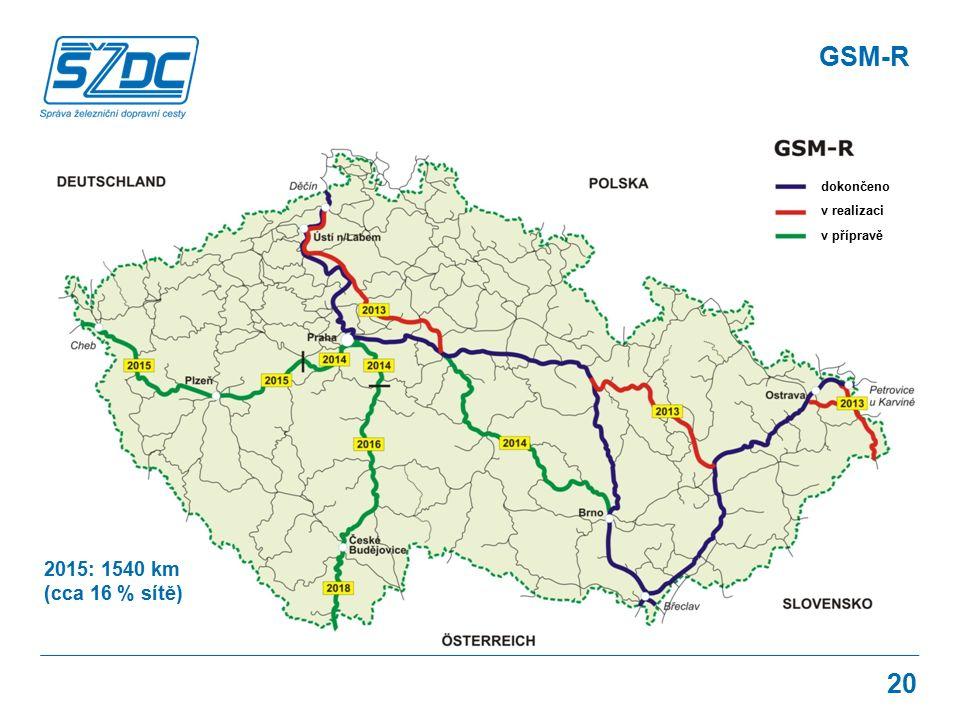 20 dokončeno v realizaci v přípravě 2015: 1540 km (cca 16 % sítě)