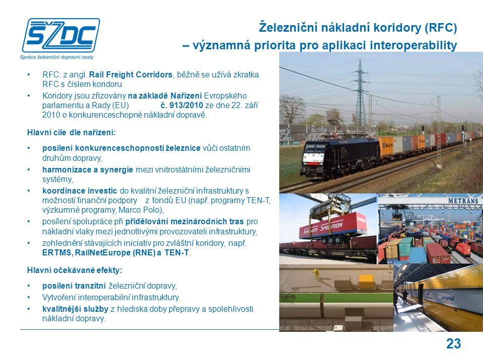 23 Železniční nákladní koridory (RFC) – významná priorita pro aplikaci interoperability RFC: z angl. Rail Freight Corridors, běžně se užívá zkratka RF