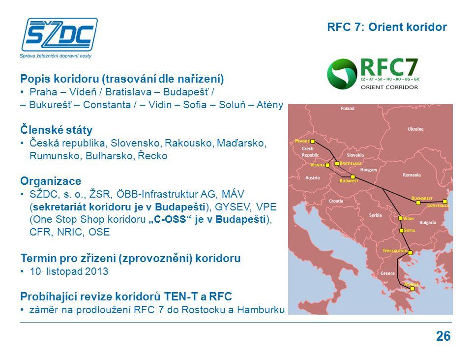 26 RFC 7: Orient koridor Popis koridoru (trasování dle nařízení) Praha – Vídeň / Bratislava – Budapešť / – Bukurešť – Constanta / – Vidin – Sofia – So