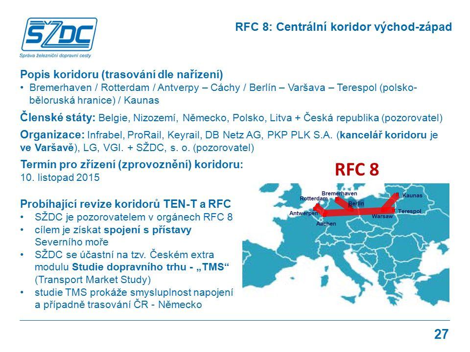27 RFC 8: Centrální koridor východ-západ Popis koridoru (trasování dle nařízení) Bremerhaven / Rotterdam / Antverpy – Cáchy / Berlín – Varšava – Terespol (polsko- běloruská hranice) / Kaunas Členské státy: Belgie, Nizozemí, Německo, Polsko, Litva + Česká republika (pozorovatel) Organizace: Infrabel, ProRail, Keyrail, DB Netz AG, PKP PLK S.A.