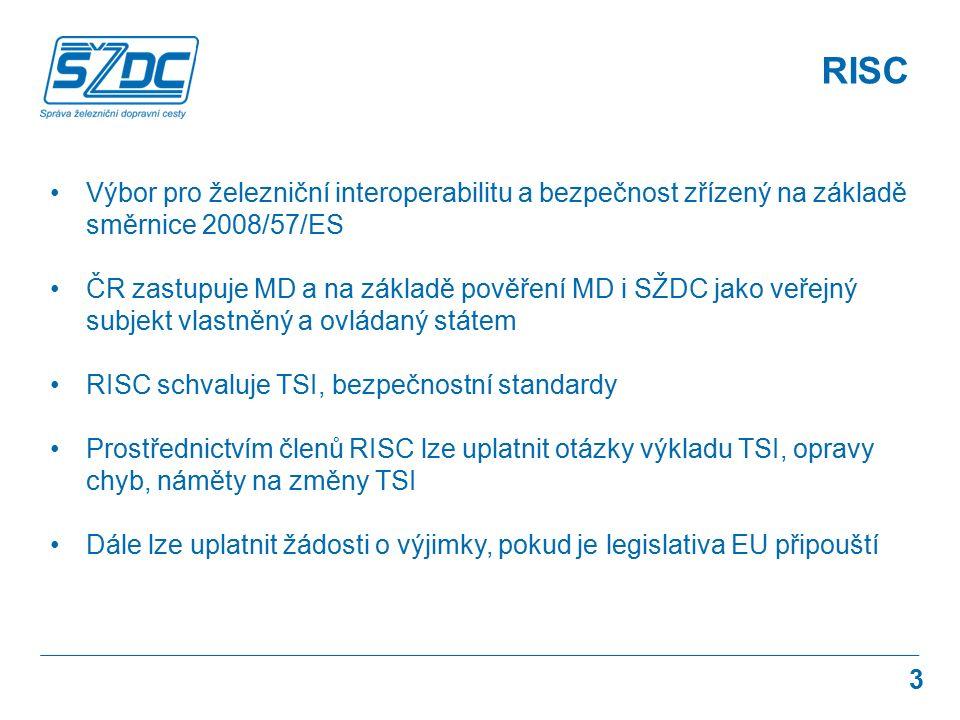 3 RISC Výbor pro železniční interoperabilitu a bezpečnost zřízený na základě směrnice 2008/57/ES ČR zastupuje MD a na základě pověření MD i SŽDC jako veřejný subjekt vlastněný a ovládaný státem RISC schvaluje TSI, bezpečnostní standardy Prostřednictvím členů RISC lze uplatnit otázky výkladu TSI, opravy chyb, náměty na změny TSI Dále lze uplatnit žádosti o výjimky, pokud je legislativa EU připouští