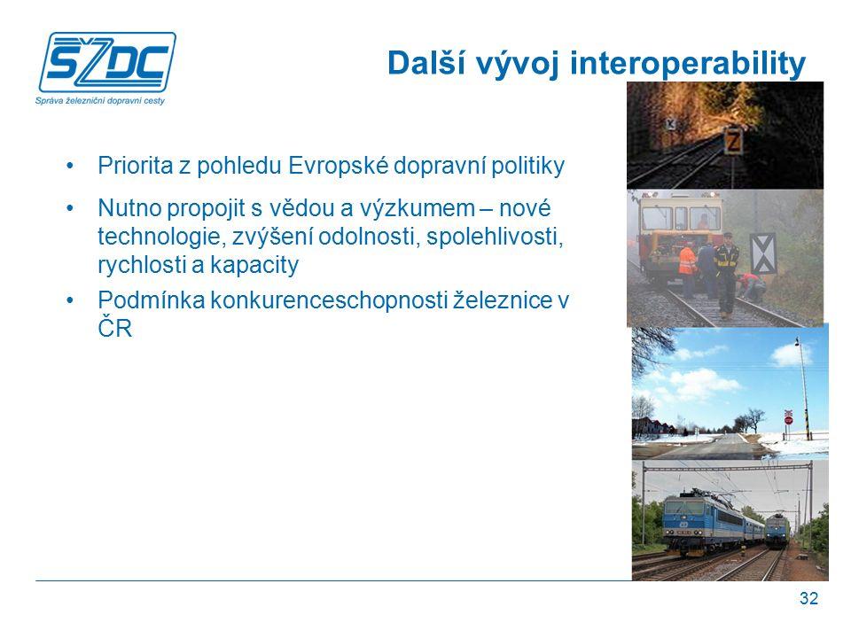 Další vývoj interoperability Priorita z pohledu Evropské dopravní politiky Nutno propojit s vědou a výzkumem – nové technologie, zvýšení odolnosti, spolehlivosti, rychlosti a kapacity Podmínka konkurenceschopnosti železnice v ČR 32
