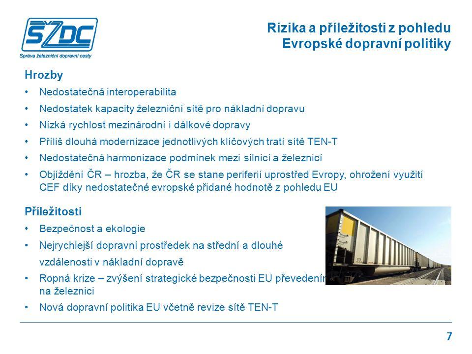 Hrozby Nedostatečná interoperabilita Nedostatek kapacity železniční sítě pro nákladní dopravu Nízká rychlost mezinárodní i dálkové dopravy Příliš dlouhá modernizace jednotlivých klíčových tratí sítě TEN-T Nedostatečná harmonizace podmínek mezi silnicí a železnicí Objíždění ČR – hrozba, že ČR se stane periferií uprostřed Evropy, ohrožení využití CEF díky nedostatečné evropské přidané hodnotě z pohledu EU Příležitosti Bezpečnost a ekologie Nejrychlejší dopravní prostředek na střední a dlouhé vzdálenosti v nákladní dopravě Ropná krize – zvýšení strategické bezpečnosti EU převedením části nákladní dopravy na železnici Nová dopravní politika EU včetně revize sítě TEN-T 7 Rizika a příležitosti z pohledu Evropské dopravní politiky
