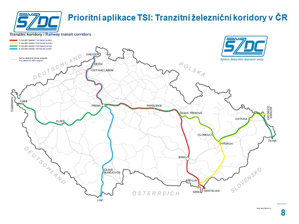 8 Prioritní aplikace TSI: Tranzitní železniční koridory v ČR