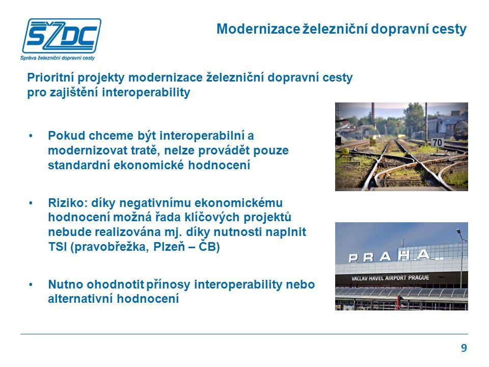 Prioritní projekty modernizace železniční dopravní cesty pro zajištění interoperability 9 Pokud chceme být interoperabilní a modernizovat tratě, nelze provádět pouze standardní ekonomické hodnocení Riziko: díky negativnímu ekonomickému hodnocení možná řada klíčových projektů nebude realizována mj.