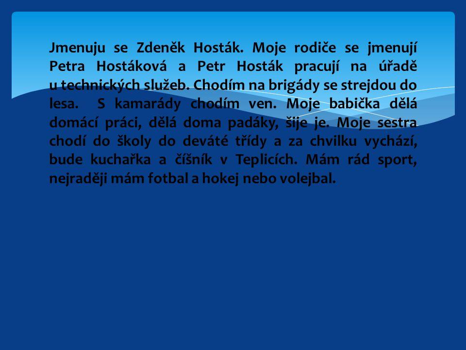 Jmenuju se Zdeněk Hosták.