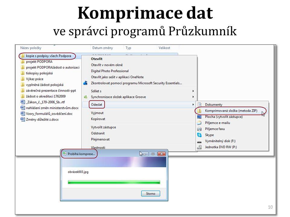 Komprimace dat ve správci programů Průzkumník 10