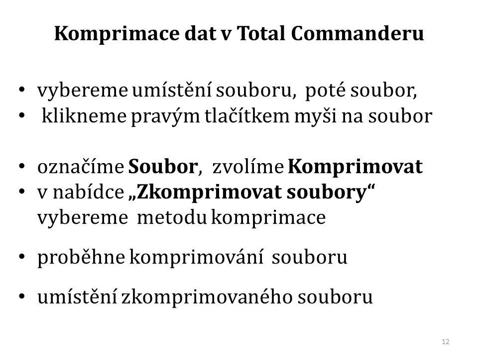 """vybereme umístění souboru, poté soubor, klikneme pravým tlačítkem myši na soubor označíme Soubor, zvolíme Komprimovat v nabídce """"Zkomprimovat soubory vybereme metodu komprimace proběhne komprimování souboru umístění zkomprimovaného souboru Komprimace dat v Total Commanderu 12"""