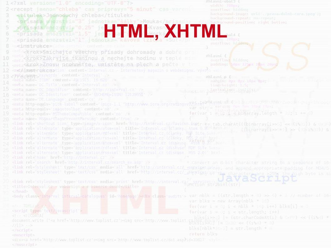 HTML, XHTML