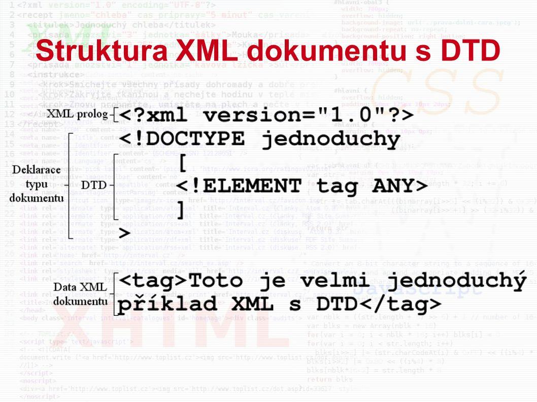 Struktura XML dokumentu s DTD