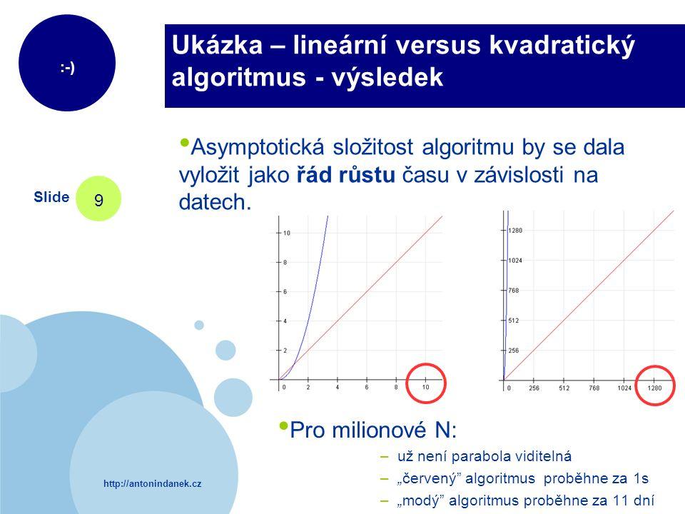 http://antonindanek.cz :-) Slide 9 Ukázka – lineární versus kvadratický algoritmus - výsledek Asymptotická složitost algoritmu by se dala vyložit jako
