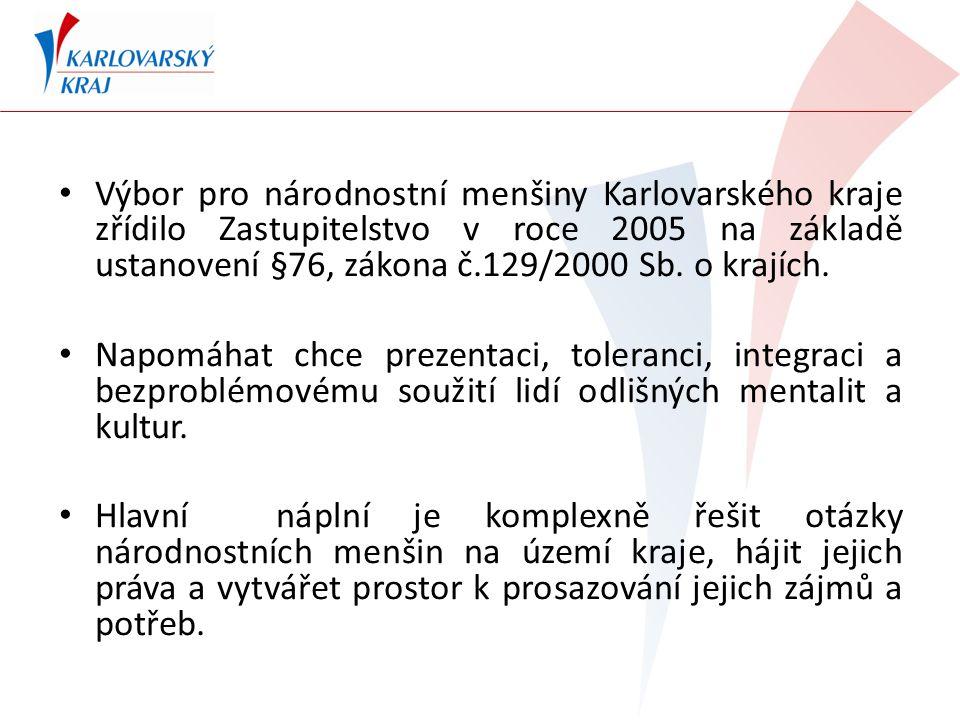 Výbor pro národnostní menšiny Karlovarského kraje zřídilo Zastupitelstvo v roce 2005 na základě ustanovení §76, zákona č.129/2000 Sb.