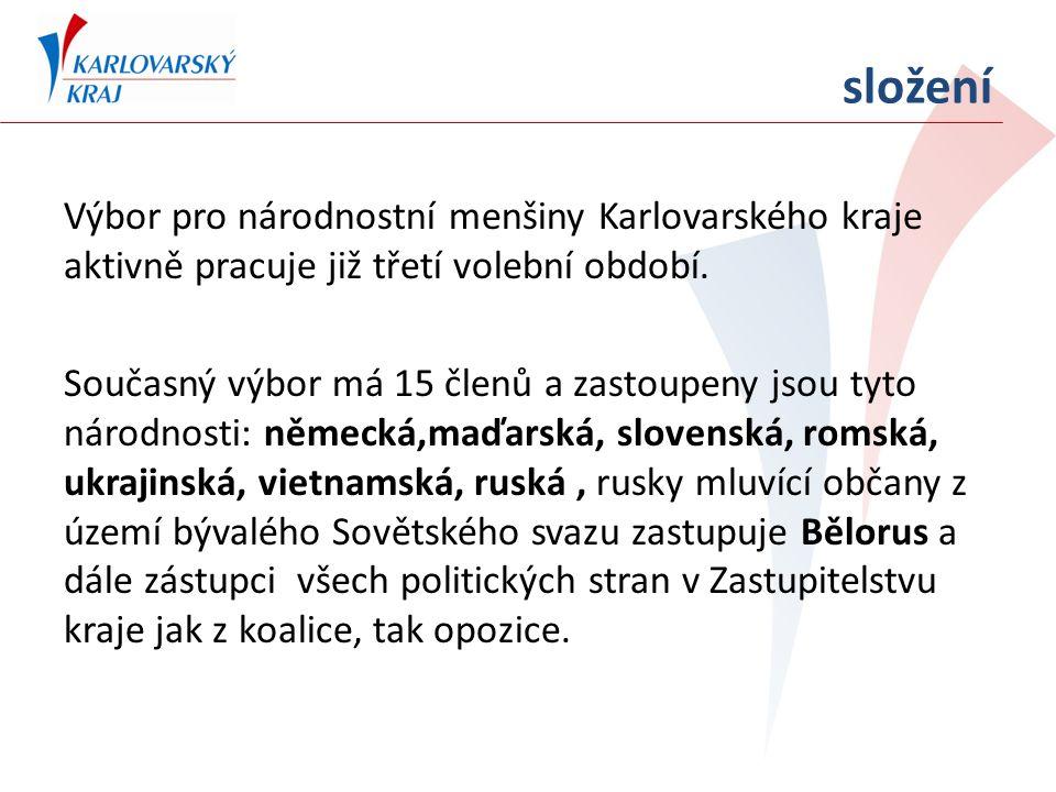 složení Výbor pro národnostní menšiny Karlovarského kraje aktivně pracuje již třetí volební období. Současný výbor má 15 členů a zastoupeny jsou tyto