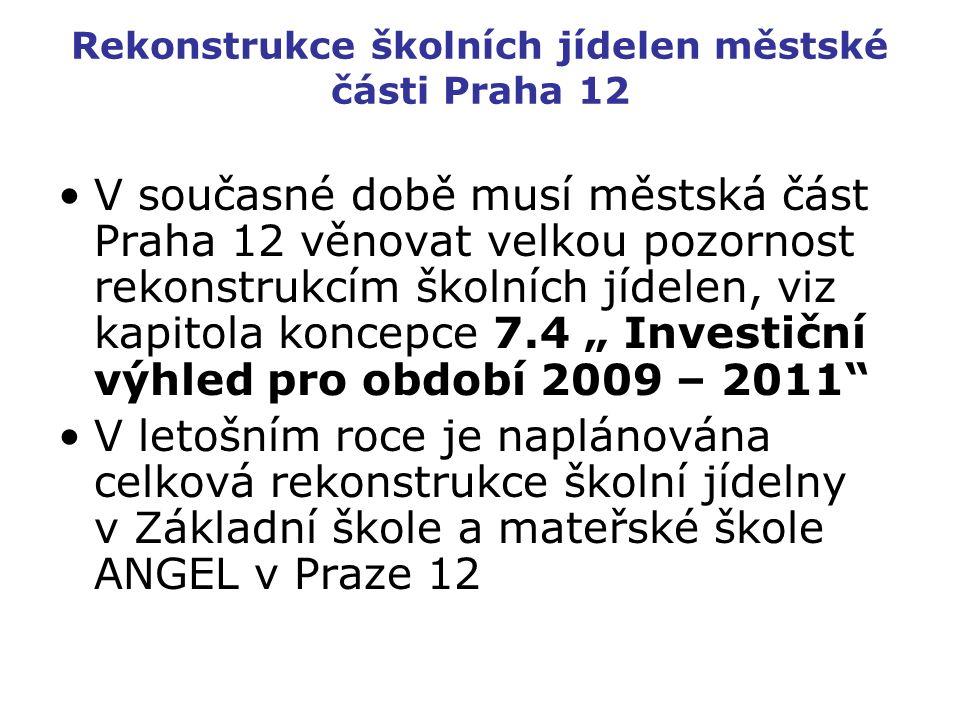 Rekonstrukce školních jídelen městské části Praha 12 V současné době musí městská část Praha 12 věnovat velkou pozornost rekonstrukcím školních jídele