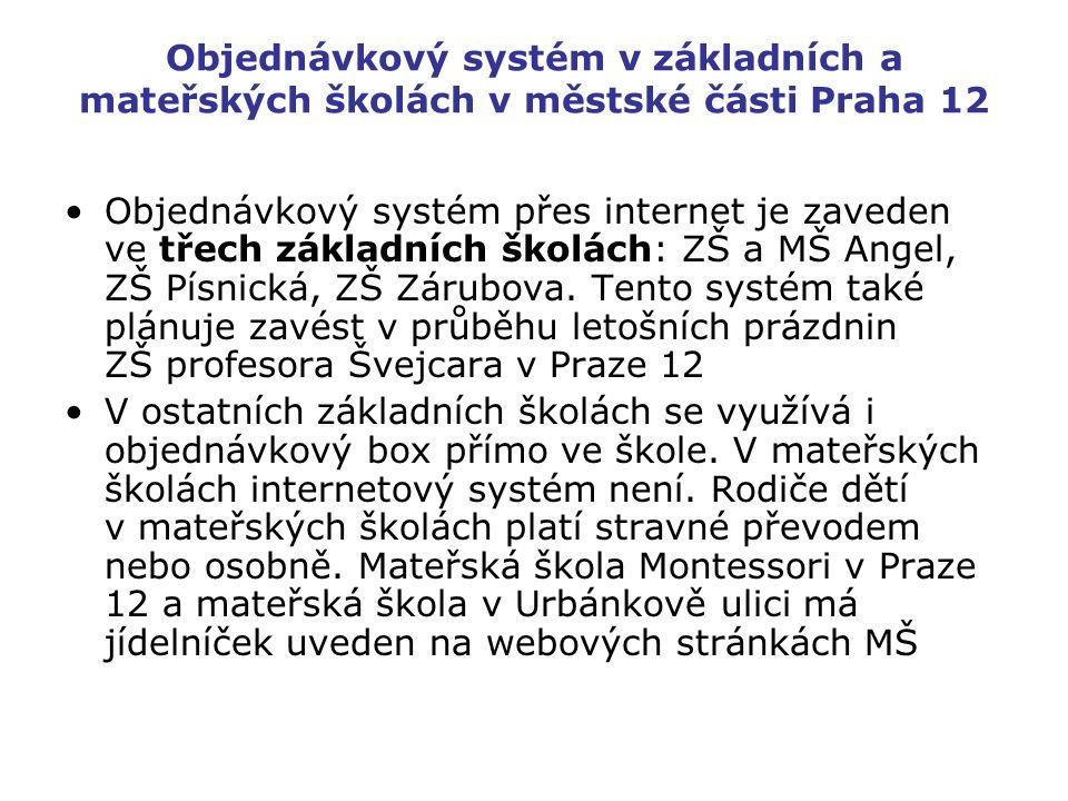 Objednávkový systém v základních a mateřských školách v městské části Praha 12 Objednávkový systém přes internet je zaveden ve třech základních školách: ZŠ a MŠ Angel, ZŠ Písnická, ZŠ Zárubova.