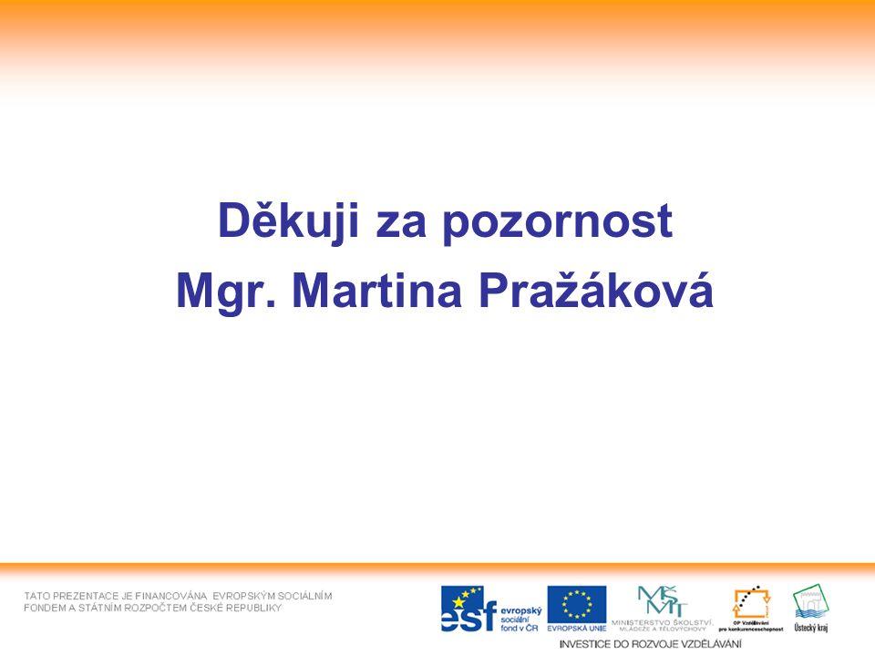 Děkuji za pozornost Mgr. Martina Pražáková