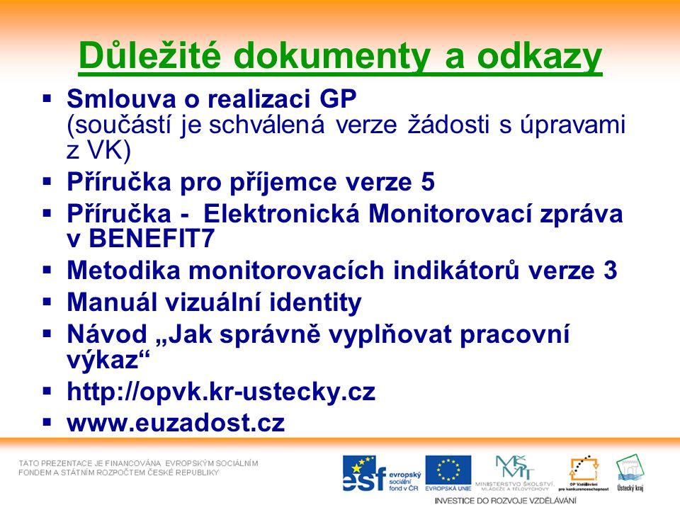 """Důležité dokumenty a odkazy  Smlouva o realizaci GP (součástí je schválená verze žádosti s úpravami z VK)  Příručka pro příjemce verze 5  Příručka - Elektronická Monitorovací zpráva v BENEFIT7  Metodika monitorovacích indikátorů verze 3  Manuál vizuální identity  Návod """"Jak správně vyplňovat pracovní výkaz  http://opvk.kr-ustecky.cz  www.euzadost.cz"""