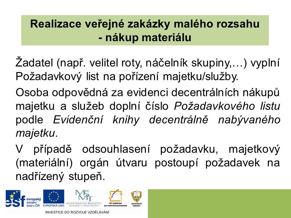 Realizace veřejné zakázky malého rozsahu - nákup materiálu Žadatel (např.