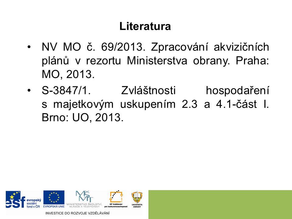 NV MO č. 69/2013. Zpracování akvizičních plánů v rezortu Ministerstva obrany. Praha: MO, 2013. S-3847/1. Zvláštnosti hospodaření s majetkovým uskupení