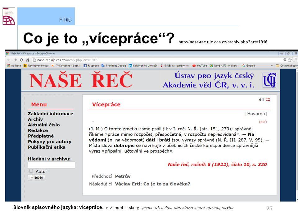 """27 FIDIC Lukáš Klee Co je to """"vícepráce ."""