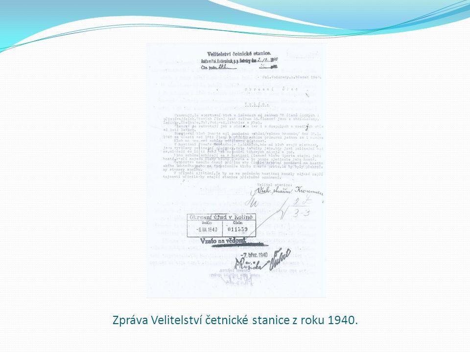 Zpráva Velitelství četnické stanice z roku 1940.