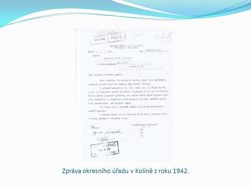 Zpráva okresního úřadu v Kolíně z roku 1942.