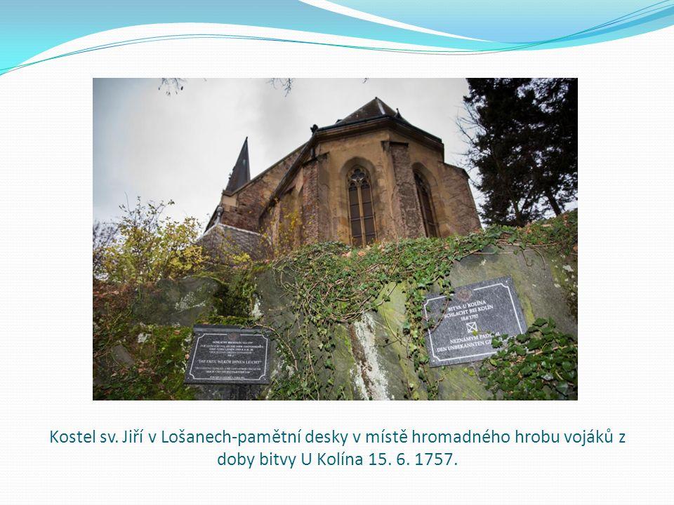 Kostel sv. Jiří v Lošanech-pamětní desky v místě hromadného hrobu vojáků z doby bitvy U Kolína 15.