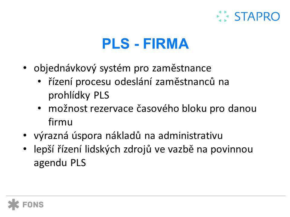 PLS - FIRMA objednávkový systém pro zaměstnance řízení procesu odeslání zaměstnanců na prohlídky PLS možnost rezervace časového bloku pro danou firmu výrazná úspora nákladů na administrativu lepší řízení lidských zdrojů ve vazbě na povinnou agendu PLS